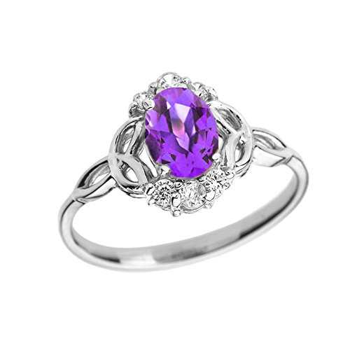 Elegant 14k White Gold Diamond Trinity Knot Proposal Ring with Genuine Amethyst (Size ()