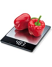 Beurer KS34 Digital Kitchen Food Scale | Precise Weight Measuring in Ounces & Grams up to 33 lbs. | Magic Digital Display | Easy to Clean | Black Glass | Batteries included | German-Quality Product