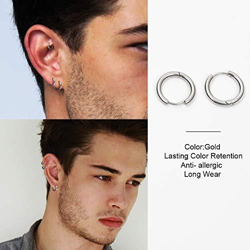 UHIBROS Small Hoop Earrings Set- Cartilage Earring Hypoallergenic Hoop Earrings or Women Men Girls Surgical Steel Huggie Hoop Earrings 3 Pairs (8mm/10mm/12mm) (3 Pairs (8-10-12mm)-Silver)