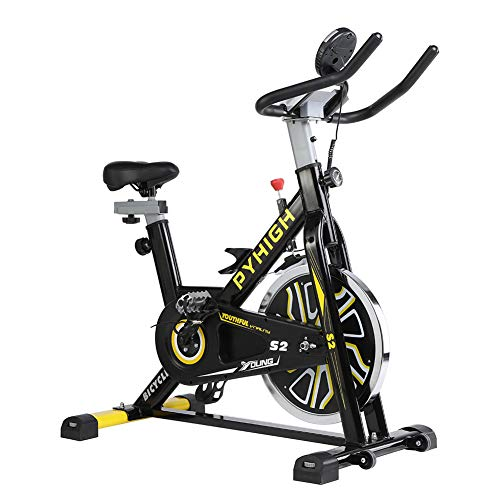 PYHIGH Belt Drive Indoor Cycling Bike Exercise Indoor Workout Bike Stationary Cycle Bicycle for Home Cardio Gym Training (Black -Yellow)