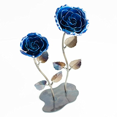 Double Hand-Forged Wrought Iron Blue Metal Roses