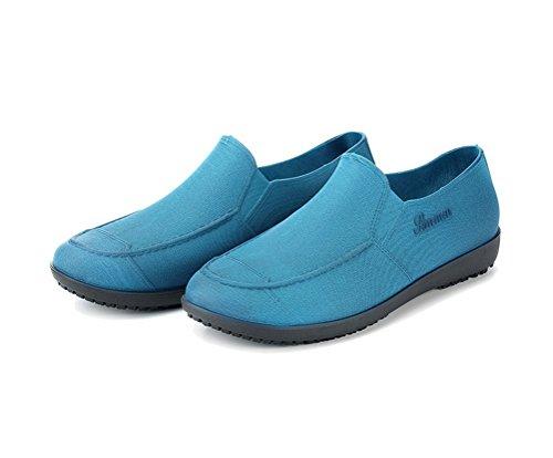 Flyrioc Men's Kitchen Shoes Chef Clogs Anti Slip Working Shoes Rain Boot Garden Shoes Blue US 8.5