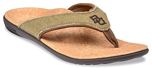 Spenco Men's Yumi Leather Sandal (11, Canvas Straw/Java/Cork)