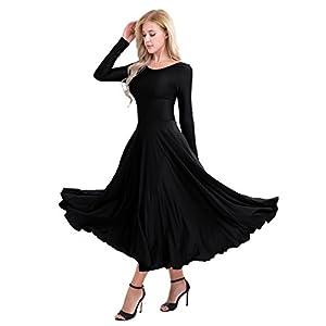 CHICTRY Women's Praise Stretchy Full Length Long Sleeve Dance Dress
