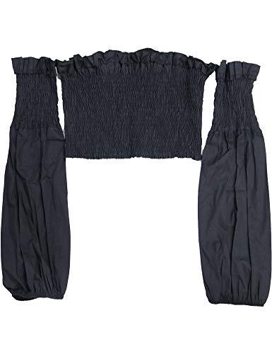 Shoulder Puff - Agmibrelr Womens Women's Chiffon Off The Shoulder Strapless Ruffle Puff Long Sleeve Crop Top Tops Blouse Blouses for Women Black S