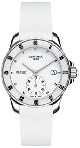Certina Certina DS First Lady C014.235.17.011.00 - Reloj analógico de mujer de cuarzo con correa de silicona blanca