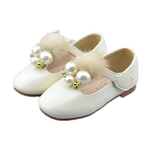 Spring Autumn Girls Shoes Children Party Dress Shoes Girls Cute Sweet PU Leather Flat Shoes(Beige 33/1.5 M US Little (Scottish Ballet Costumes)