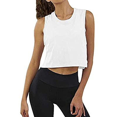 TWGONE Workout Cropped Tank Tops for Women Sleeveless Gym Solid Yoga Athletic Shirt