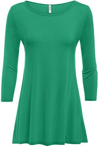 Top Emerald Green (Emerald Tunic Tops For Women Long Flowy 3/4 Sleeve Swing Top)