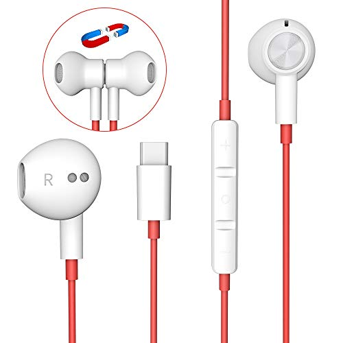 USB C Headphones, YUANBAI USB C Earbuds with Microphone Magnetic Hi-Res Stereo OnePlus 7T Headphones, in-Ear Wired Earbuds Sport Type C Earphones for Pixel 4 3 XL 2 XL, iPad Pro 2018, OnePlus 7 Pro 6T