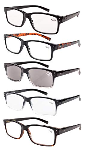 (Reading Glasses 5-pack for Men and Women Includes Full Readers Sunglasses +2.0)