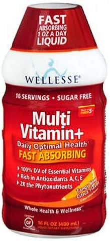 Wellesse Multivitamin Fast Absorbing, Complete B-Complex,Tangy New Citrus Flavor, 16 oz (Pack of 4)