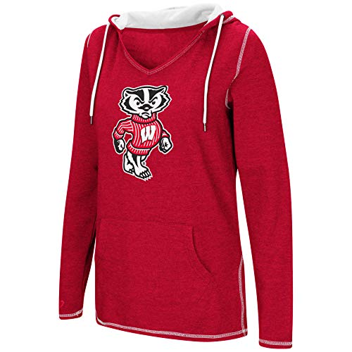 (Colosseum Women's NCAA-Scream It!- Dual Blend-Fleece V-Neck Hoodie Pullover Sweatshirt-Wisconsin Badgers-Cardinal-Medium)