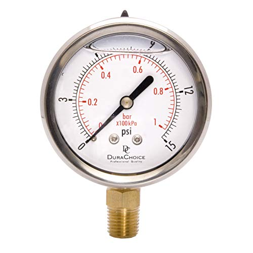 """2-1/2"""" Oil Filled Pressure Gauge - Stainless Steel Case, Brass, 1/4"""" NPT, Lower Mount Connection 0-15PSI"""
