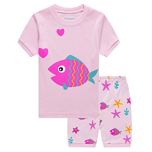 Little Girls Fish Pajamas Sets Toddler Short Sleeve Leggings Outfits 2 Piece for Kids 4 5 T