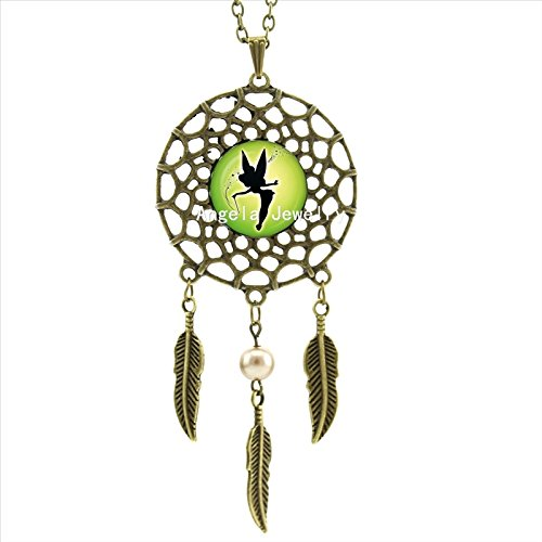 (Pretty Lee Tinkerbell Necklace Elegant Fairy Angel Jewelry Dream Catcher Pendant Dreamcatcher Necklace Art Photo Glass Cabochon Necklace)