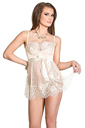 Coquette Women's Padded Lace Babydoll and G-String Set, Ivory, Small