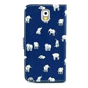 YULIN patrón de dibujos animados elefante caso de cuero de la PU con el soporte de la tarjeta soporte para Samsung Galaxy Note N9000 3