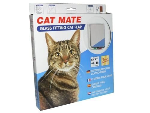 Cat Mate 4 Way Locking Glass Fitting Cat Flap and Door Liner White 12 pack by Pet Mate