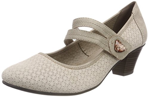 Beige Taupe para Tacón Zapatos de Jana Mujer 24331 wOf1BqqY
