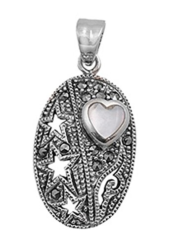 - Star Heart Pendant Mother of Pearl Marcasite .925 Sterling Silver Cutout Charm - Silver Jewelry Accessories Key Chain Bracelet Necklace Pendants