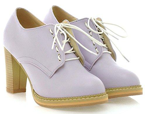 Retro Shoes Boots Women's Up High Chunky Lace Oxfords Round Toe Low IDIFU Top Purple Heels 5BqFxnOO