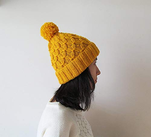 (Hand Knitted Hat in Yellow, Beanie with Pom Pom, Women Knit Hat, Wool Blend, Seamless, For Her)