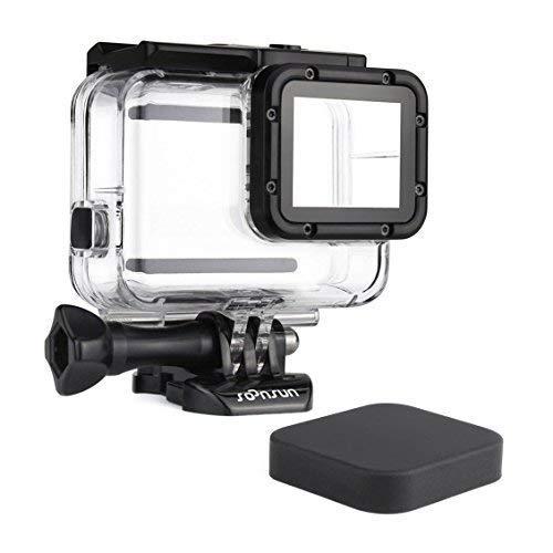 SOONSUN 45m Underwater Waterproof Dive Housing Case for GoPro Hero 5 Hero 6 Hero 2018 Hero 7 Black Camera - Includes Bracket Accessories and Silicone Lens Cap Cover
