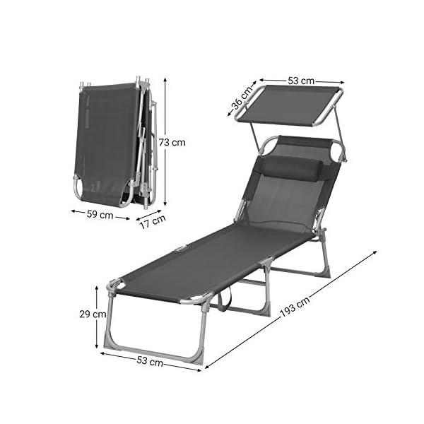 41Yp XLknWL SONGMICS Sonnenliege, Liegestuhl, Gartenliege, mit Kopfstütze und Sonnendach, Rückenlehne verstellbar, leicht, klappbar…