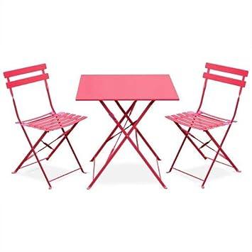 Salon de Jardin bistrot Pliable - Emilia carré Rouge - Table carrée 70x70cm  avec Deux chaises Pliantes, Acier thermolaqué