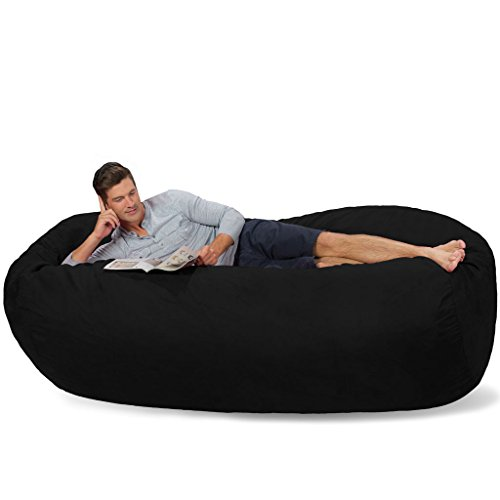 Comfy Sacks 7.5 ft Lounger Memory Foam Bean Bag Chair, Jet Black Cords