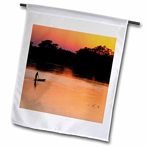 Fisherman Custom Boat Cover (3dRose Danita Delimont - People - Brazil, Mato Grosso, Rio Cuiaba. Fisherman in small boat at dawn. - 12 x 18 inch Garden Flag (fl_258309_1))