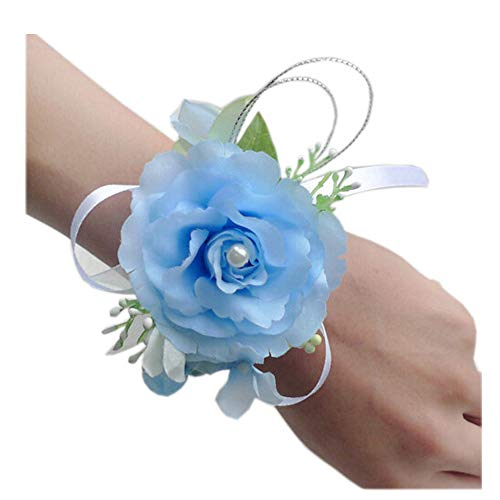 - Arlai Wrist Corsage Wristband Roses Wrist Corsage for Prom, Party, Wedding Light Blue