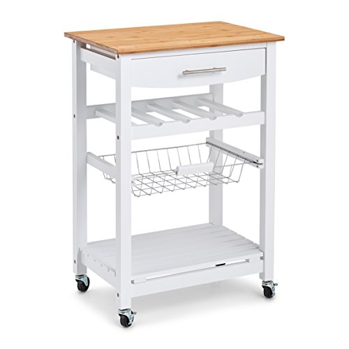 Price comparison product image Zeller Kitchen Trolley,  Bamboo / MDF,  White,  58 x 40 x 85