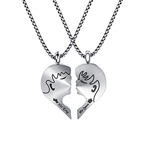 Fate Love Jewelry Men Women Faces Matching Set Magnet Puzzle Love Heart Her King & His Queen Couple Necklaces, Love - Of Faces Pictures Heart Shaped