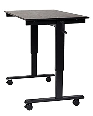 "Luxor Home Office SC-48-BK/BO-1PK 48"" Crank Adjustable Stand Up Desk Black Oak with Black Frame - 1 Pack"