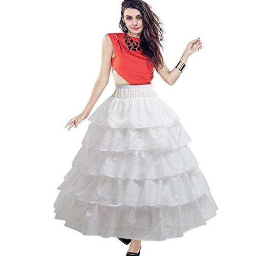 BiBOSS Petticoat Skirt 4 Hoop Skirt Crinoline Underskirt for Wedding Ball Gown -