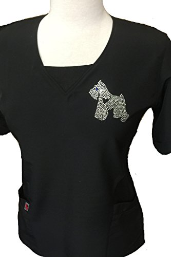 Ladybird Line Giant Schnauzer Rhinestone Transfer Iron On T-Shirt, Aprons, Jackets, Tank Top, Hoodies, Tote Bags and Caps Pet Groomers ()