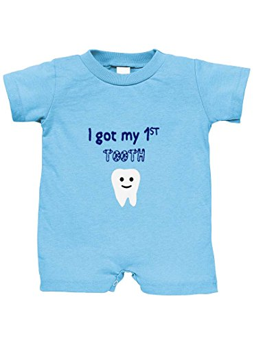Speedy Pros I Got My 1St Tooth 100% Cotton Infant Baby Jersey Tee T-Romper Light Blue 12 Months -