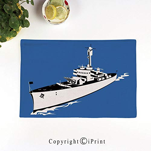 LIFEDZYLJH Stain Resistant Washable Table Mats,Kitchen Table mats,Sets 6,17.5x11.5 Easy to Clean,Navy Force War Ship Boat Sealife Ocean Themed Animation Like Image,Violet Blue White Back