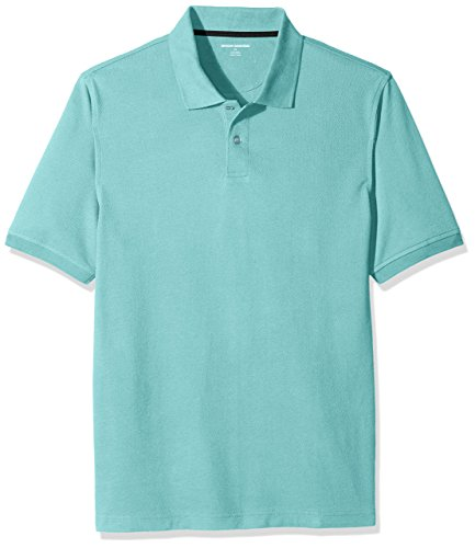 Amazon Essentials Men's Regular-Fit Cotton Pique Polo Shirt, Aqua, (Aqua Blue Short Sleeve Shirt)