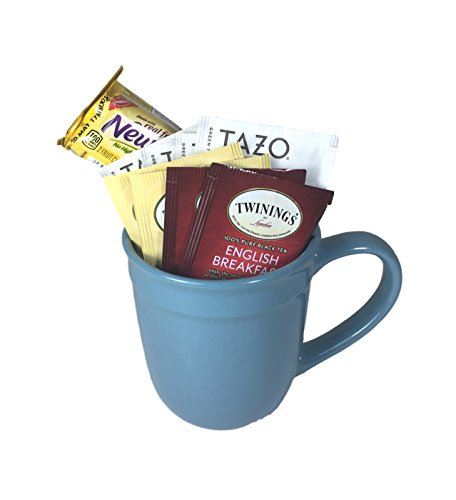 Tea Lovers Gift Bundle - Stoneware 16.5oz Amelia Collection Mug - 4 Bags of Tazo Green Tea - 4 Bags of Twinings Tea - 1 Package of Fig Newtons