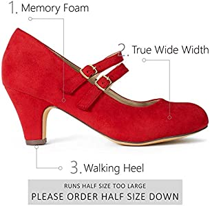 Women's Wide Fit Mary Jane Chunky Heel