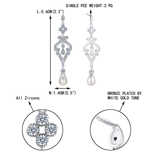 EVER FAITH Silver-Tone Pave CZ Cream Simulated Pearl Vintage Style Chandelier Dangle Earrings Clear by EVER FAITH (Image #4)