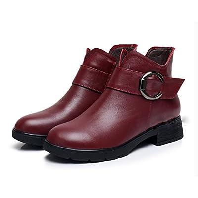 KHSKX-3Cm Rouge Chaussures Fille De L'Automne À La Mode Et Polyvalent Des Souliers À Talon Haut Les Bottes D'Hiver Avec De Lourdes Bottes Souliers Et 35 Hiver Femelle