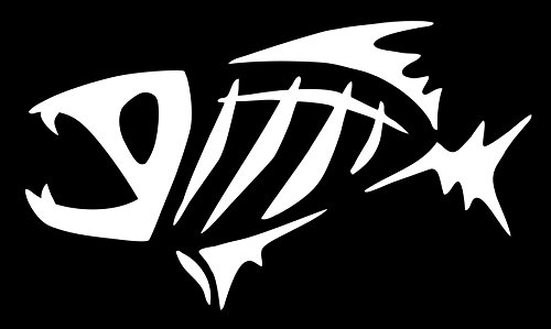 (spdecals G Loomis Fish Skeleton Car Window Vinyl Decal Sticker (white, 7