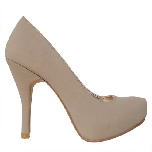 Women's Qupid Taupe Nubuck Almond Toe Platform Pump (Trench01)