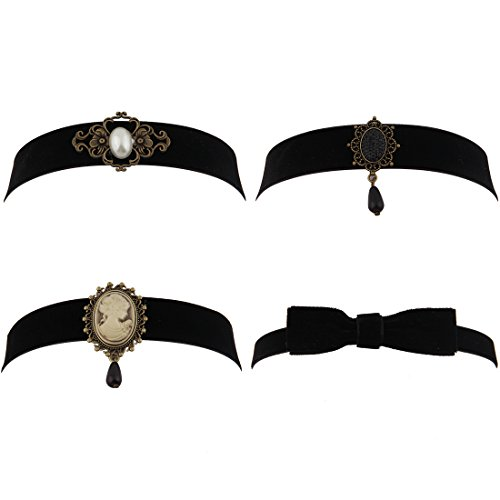 [WUSUANED Fashion Retro Black Victorian Cameo Pearl Bead Velvet Choker Necklace (4PCS SET)] (Cameo Choker Necklace)