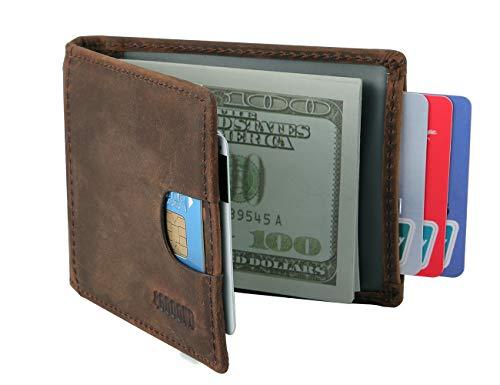Gooond Rfid Blocking Slim Bifold Genuine Leather Minimalist Front Pocket Wallet with Money Clip for Men (brown)
