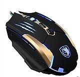 Sades Q6 USB Wired LED Optical Gaming Mouse, 4 Adjustable DPI Levels (Black)